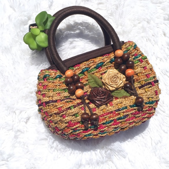 Handbags - Straw Bag boho Style with mini roses medium size